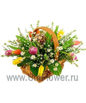 Букет тюльпанов «Корзиночка с тюльпанами»