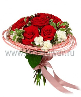 Букет 9 бордовых роз «Бархат»