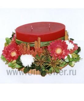 Канун Рождества - композиции из сухоцветов