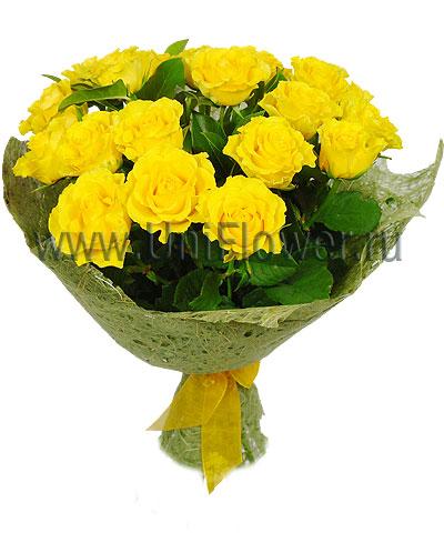 Букет 21 желтая роза «Акапулько»