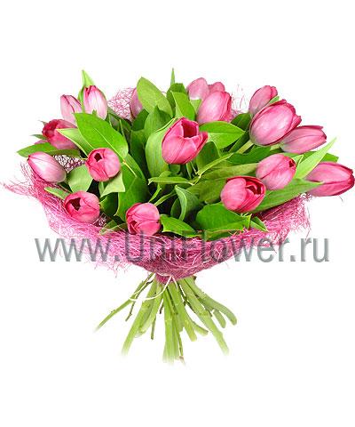 Букет тюльпанов «Розовый бум»